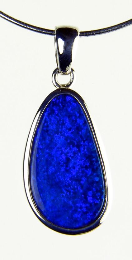 Boulder Opal Pendant - Doublet opal pendant in silver on silver chain. 2.2x1.2cm opal pendant