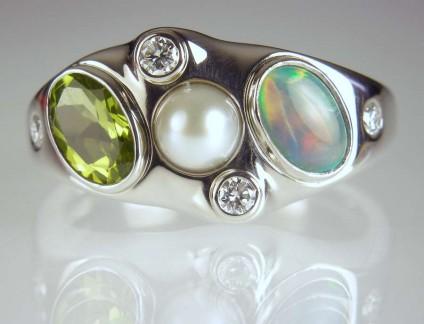 Opal, peridot, pearl & diamond ring - Opal, peridot, pearl & diamond birthstone ring in palladium