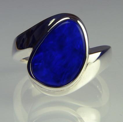Boulder opal ring - Boulder opal doublet ring in silver