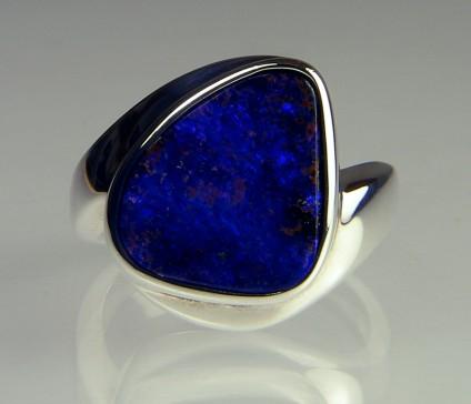 Boulder Opal Ring - Boulder opal (solid) in silver