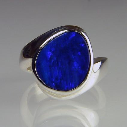 Boulder opal doublet ring - Boulder opal doublet ring in silver