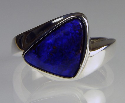Boulder opal ring in silver - Triangular solid boulder opal cabochon set in handmade silver ring
