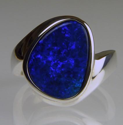 Boulder opal doublet ring in silver - Boulder opal doublet ring in silver