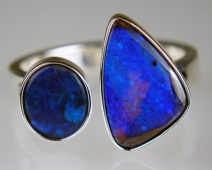 Boulder & black opal ring in silver - 0.62ct black solid opal oval cabochon set with 1.72ct boulder opal and mounted in a handmade silver ring