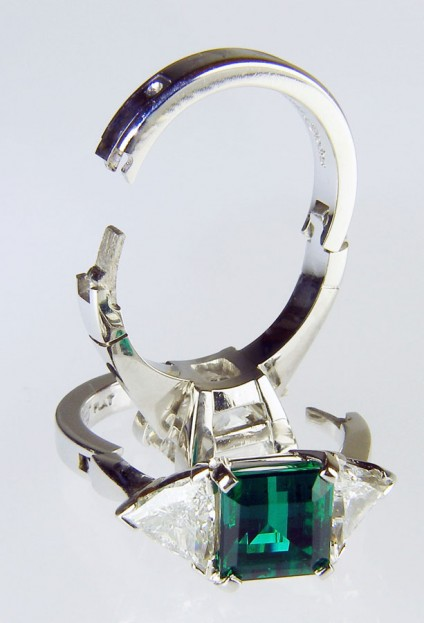 Opening SUPERFIT ring shanks in platinum - Diamond and emerald set rings in platinum commissioned with special SUPERFIT opening shanks for customers with slim fingers and large knuckles. The shanks can sometimes be retrofitted to existing rings. Prices to fit the opening shank start at £800 in gold and £1200 in platinum.