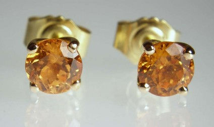 Mandarin garnet earrings in rose gold - 5.5mm round spessartine (mandarin orange) garnets in 18ct rose gold