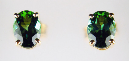 Oval sea green tourmaline earstuds in 18ct rose gold - 1.67ct pair of oval sea green tourmalines set in 18ct rose gold earstuds