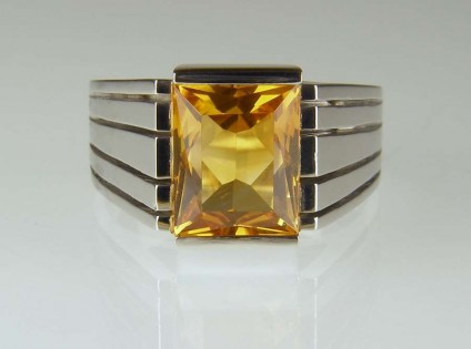 Citrine & palladium ring - Customer's own citrine, repolished and set in contemporary palladium mount