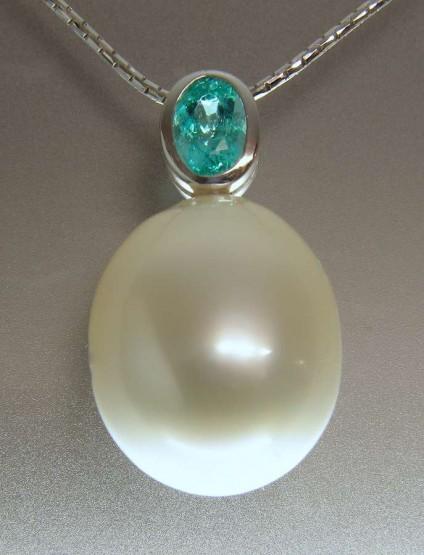 Paraiba tourmaline & south sea pearl pendant - Vivid turquoise Paraiba tourmaline 0.5ct set with 20mm South Sea pearl in 18ct white gold