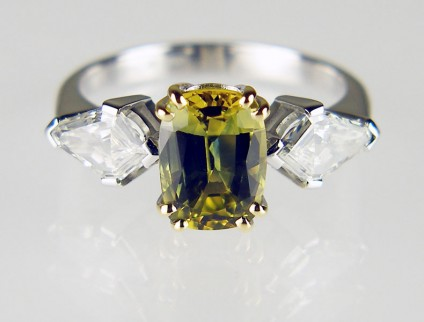 Parti coloured sapphire & diamond ring - 2.35ct antique cut Australian part-coloured sapphire set with a matched pair of kite cut diamonds mounted in 18ct white & yellow gold. One of the very finest pieces we made in 2016!  The photograph doesn't do it justice.