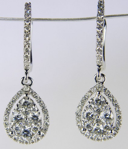 Diamond cluster drop earrings - 1.05ct total diamond weight, pear drop cluster diamond earrings. Diamond quality G colour VS clarity. Mounted in 18ct white gold.