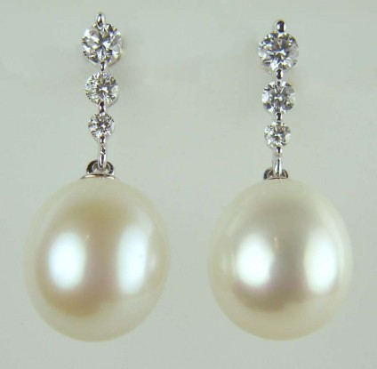 Pearl & diamond earrings - 0.43ct diamond rounds set with south sea pearls in 18ct white gold