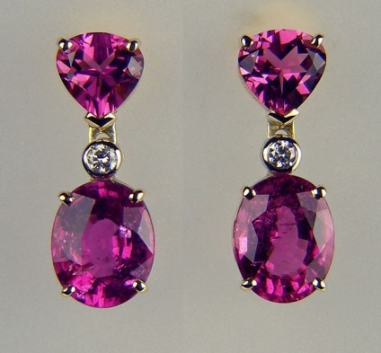 Tourmaline & diamond earrings - 3.75ct pink tourmaline oval pair, set with 1.64ct pink tourmaline trillion cut pair and 2 x 2.1mm round diamonds in 18ct white & yellow gold earrings.