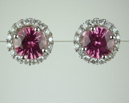 Pink sapphire & diamond earstuds - 1.9ct matched pair of round brilliant cut pink sapphires (certified unheated) set with 0.31ct diamonds in 18ct white gold