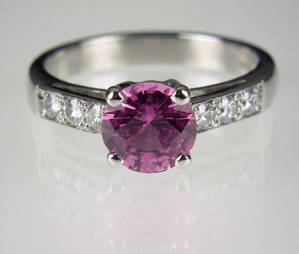 Pink sapphire & diamond ring - Pink sapphire (natural and untreated) set with diamonds in platinum ring.