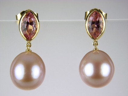 Pink tourmaline & pearl earrings - Pink tourmaline and cultured pearl earrings in 18ct yellow gold set with 1.71ct pink tourmaline navette cuts and natural rose colour cultured pearls.