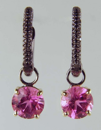 Pink tourmaline & black diamond earrings - 0.34xt round brilliant cut black diamonds set in ruthenium plated 18ct white gold hoop earrings with detachable drops of 7mm round (2.76ct total pair weight) vivid pink tourmalines set in 18ct yellow gold