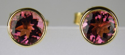 Tourmaline stud earrings in yellow gold - 1.4ct pair of round brilliant cut soft brownish pink tourmalines set in 9ct yellow gold as simple earstuds in a rubover setting