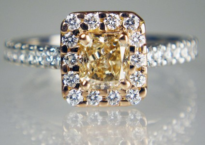 Pale golden brown diamond cluster ring - Lady's dress ring in 18ct rose gold and platinum, set with a central 0.83ct radiant cut fancy light brown diamond and surrounded and flanked by 36 round brilliant cut diamonds in F colour VS clarity. Total diamond weight 1.35ct (0.83 + 0.52ct).