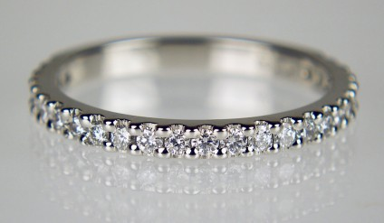 Platinum & diamond wedding band - Delicate wedding band set with 0.36ct of 1.5mm round brilliant cut diamonds in F colour VS clarity, mounted in platinum