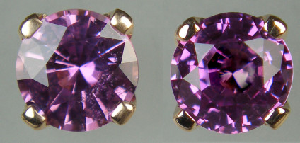 Purple sapphire earstuds in 18ct rose gold  - Beautiful 6mm round natural purple sapphires weighing 1.84ct claw set in 18ct rose gold earstuds with loss-proof 'alpha' fittings