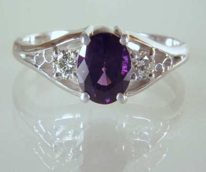 Purple spinel ring - 1.15ct deep purple spinel set with a matched pair of 3mm round diamonds in G colour VS clarity in 18ct white gold