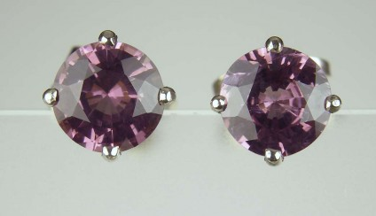 Purple Spinel Earstuds - 3.51ct pair of round cut purple spinels from Tanzania, set in simple 4 claw platinum earstuds