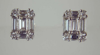 Diamond Earrings - 0.81ct diamond earrings in 18ct white gold