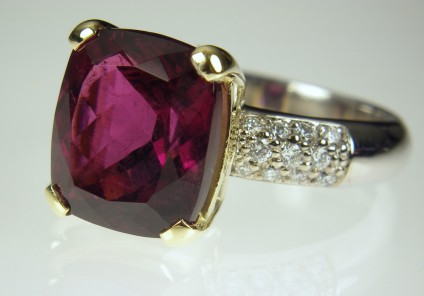 Rubellite & diamond ring - 6.45ct cushion cut Afghan red tourmaline set with 0.3ct diamonds in 18ct white & yellow gold