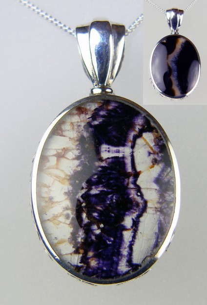Blue John & agate reversible pendant in silver -
