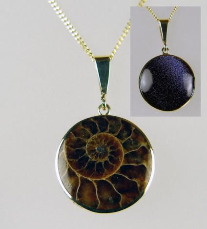 Ammonite & purple sunstone in 9ct yellow gold pendant -