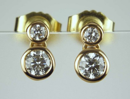 Rose gold & diamond earrings - Bezel set diamonds GH/VS totalling 0.50ct,  bezel set in 18ct rose gold