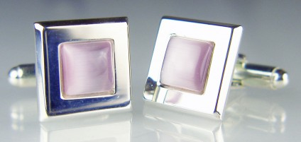 Rose quartz cufflinks in silver - Simple square cabochon rose quartz set in rubover polished silver framed silver cufflinks