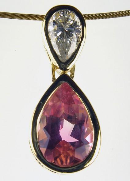 Pink tourmaline & diamond pendant - Pink tourmaline & diamond pendant set with 0.3ct diamond and 1ct tourmaline in 18ct yellow gold on 18ct yellow gold cable.