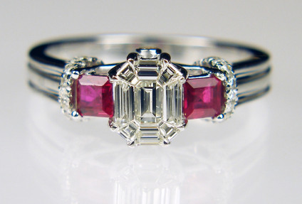Ruby & diamond ring in 18ct white gold - 0.50ct diamond and 0.50ct ruby ring in 18ct white gold. Size N 1/4