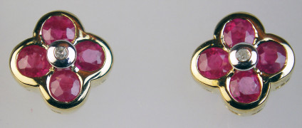 Ruby & diamond cluster earstuds - Pretty ruby & diamond earstuds set in 9ct yellow gold