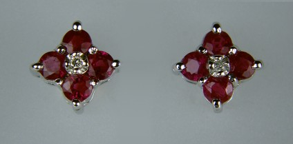 Ruby and Diamond Earrings - Ruby and diamond earrings in 18ct white gold. ESTATE PIECE