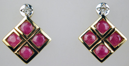 Ruby & diamond earrings in 9ct yellow & white gold - Ruby & diamond earrings in 9ct yellow & white gold