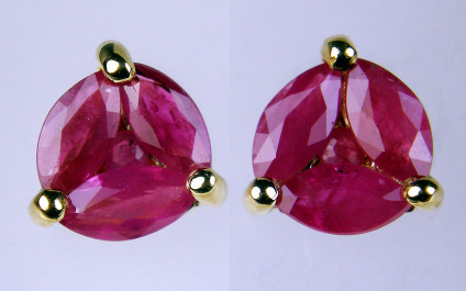 Ruby earstuds in 9ct yellow gold - 0.88ct of marwuise and round cut rubies, cluster set in 9ct yelow gold. Studs are 6mm in diameter