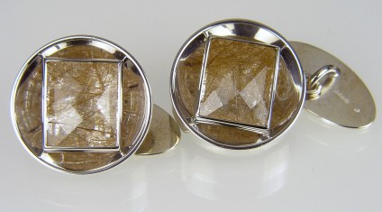 Rutilated quartz cufflinks in silver - Harlequin cut rectangular, rutilated quartz crystals set in silver. Cufflinks 20mm round.