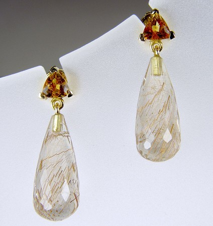 Citrine & rutilated quartz earrings - Rutilated quartz (also known as Venus hairstone) briolette drops set with trillion cut citrines in 18ct yellow gold. Earrings 8 x 27mm.