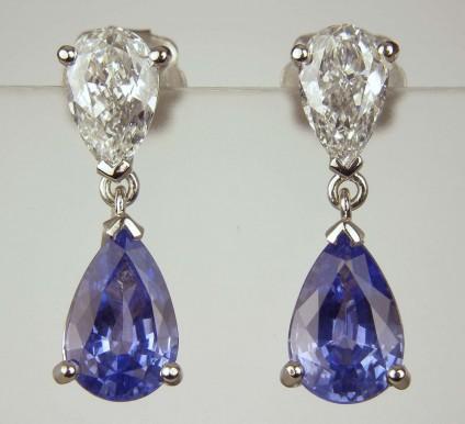 Pear cut sapphire & diamond earrings - 1.09ct E colour VS clarity pear cut diamonds set with 2.92ct pear cut sapphire pair in platinum