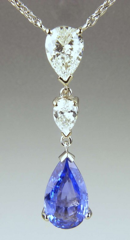 Pear cut sapphire & diamond pendant - 3.06ct pear cut sapphire drop suspended from 3 carats of pear cut diamonds in platinum