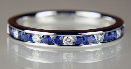 Sapphire & diamond ring in 18ct white gold - 0.37ct round cut sapphires and 0.11ct round brilliant cut diamonds in 18ct white gold. This ring is size O and cannot be resized.