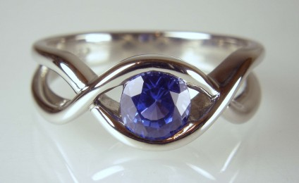 Sapphire ring in palladium - 1.28ct sapphire set in palladium band