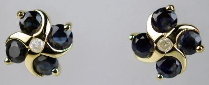 Dark sapphire & diamond cluster earstuds - Pretty dark sapphire & diamond cluster earstuds in 9ct yellow gold, modern styling