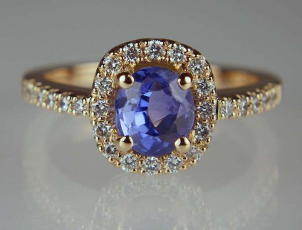 Blue Sapphire & Diamond Ring - 1.3ct blue sapphire set with 0.27ct 1.3mm diamonds in 18ct rose gold