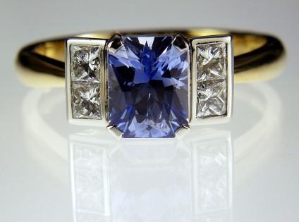Sapphire & Diamond Ring in Platinum & 18ct Gold - Sapphire & Princess Cut Diamond Ring 1.7ct octagonal cut Sri Llankan sapphire with 0.4ct princess cut diamonds in platinum and 18ct yellow gold.