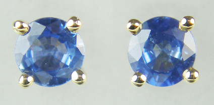 4mm Sapphire rounds in 9ct yellow gold - Dainty bright blue 4mm sapphire round pair weighing 0.70ct set in 9ct yellow gold earstuds