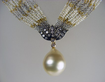 Seed pearl & diamond necklace -
